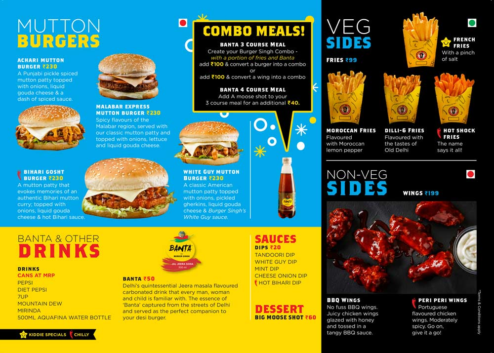 Burger Singh New Delhi Pune Delhi Gurugram – Menu